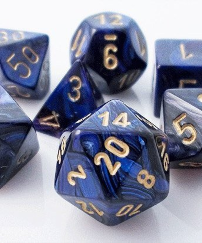 Chessex - CHX 7-Die Polyhedral Set Royal Blue w/gold Scarab
