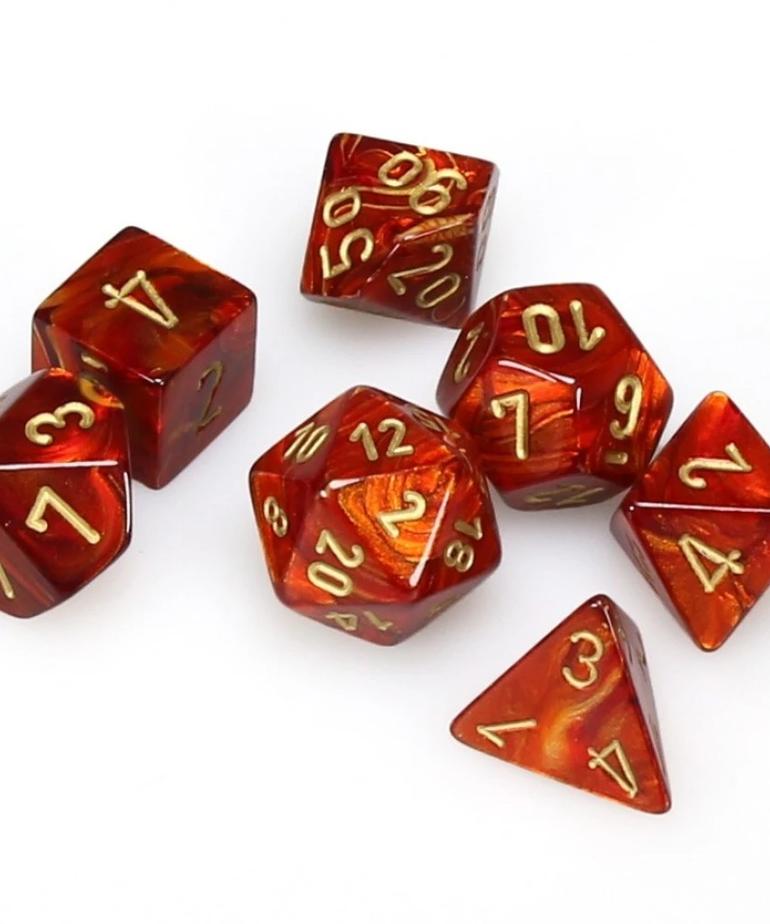 Chessex - CHX 7-Die Polyhedral Set Scarlet w/gold Scarab