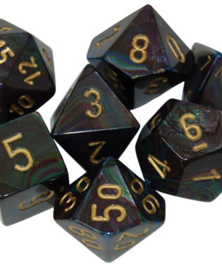 Chessex - CHX 7-Die Polyhedral Set Shadow w/ gold Lustrous