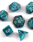 Chessex - CHX 7-Die Polyhedral Set Teal w/ gold Phantom