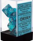 Chessex - CHX 7-Die Polyhedral Set Teal w/white Translucent