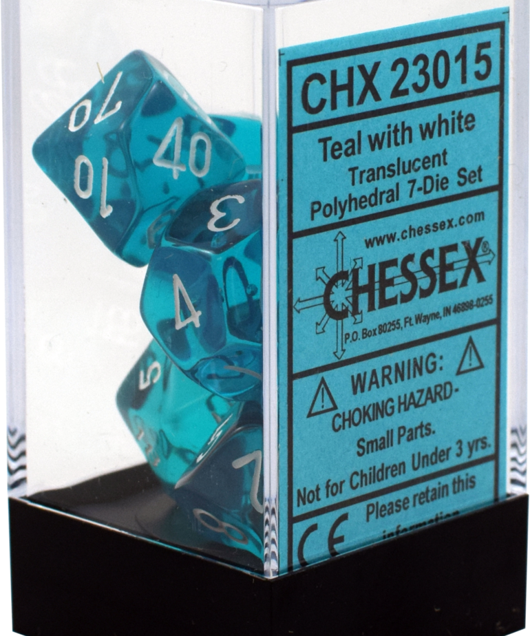 Chessex - CHX 7-Die Polyhedral Set Teal w/white Translucent