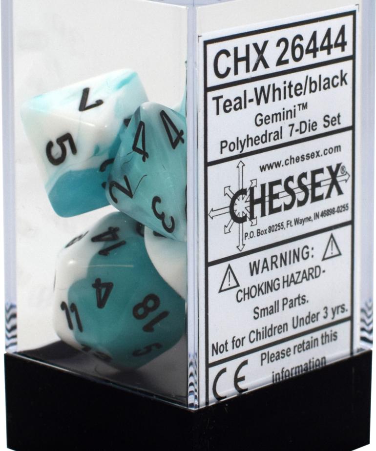 Chessex - CHX 7-Die Polyhedral Set White-Teal w/black Gemini