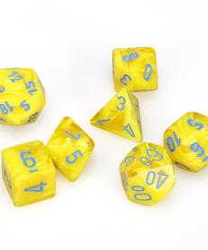 Chessex - CHX 7-Die Polyhedral Set Yellow w/blue Vortex