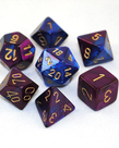 Chessex - CHX 7-Set Polyheral Dice Gemini #2 Blue-Purple/Gold