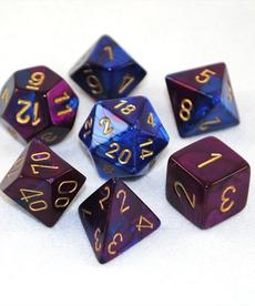 Chessex - CHX 7-Set Polyheral Dice Gemini #2 Blue-Purple/Gold