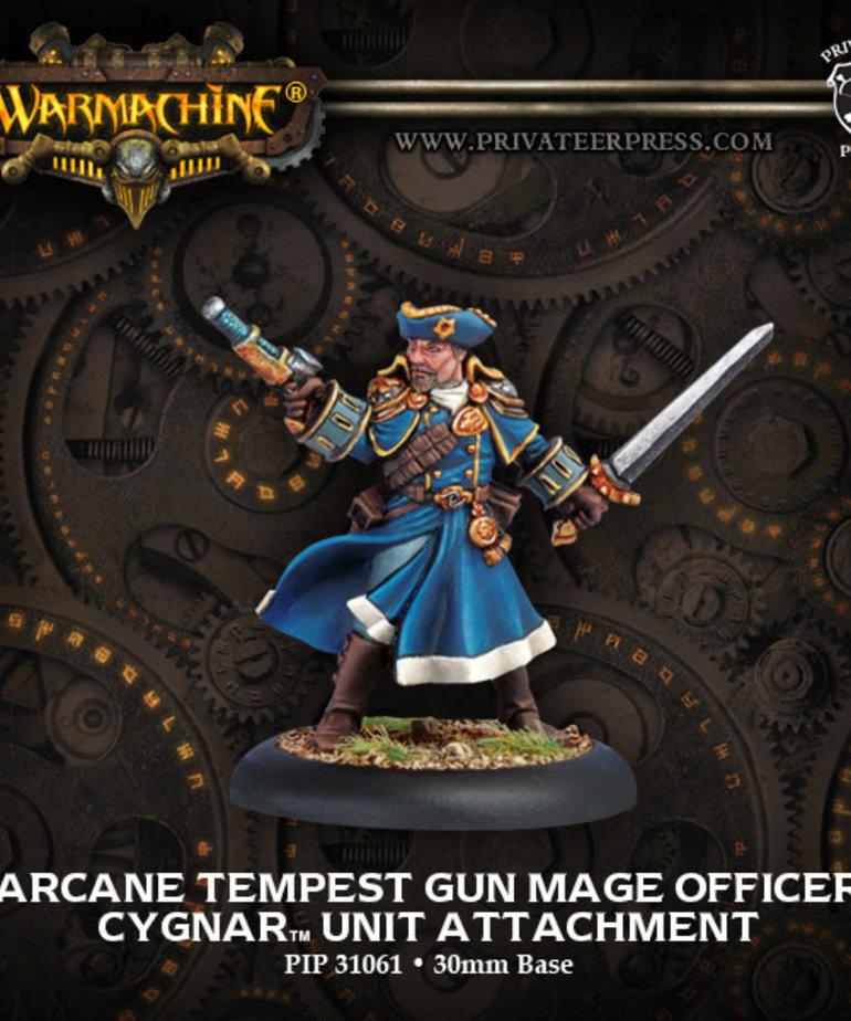 Privateer Press - PIP Warmachine - Cygnar - Arcane Tempest Gun Mage Officer - Unit Attachment