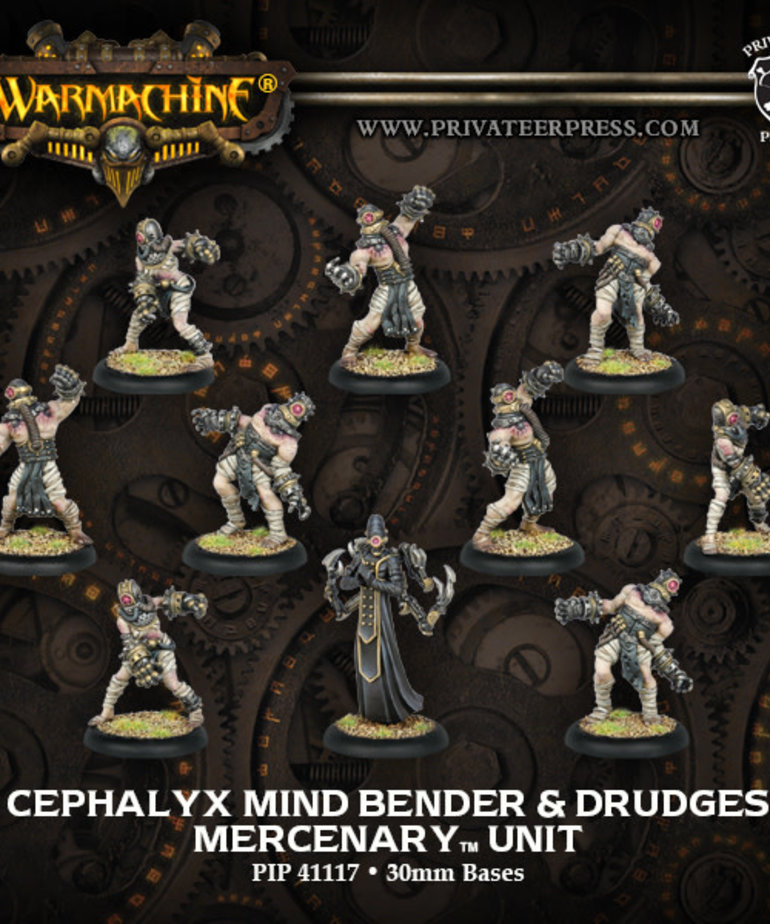 Privateer Press - PIP Warmachine - Mercenaries - Cephalyx Mind Bender & Drudges - Unit