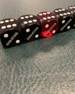 "Chain Attack 5/8"" Casino Backgammon Dice 4 Black and 1 Red"