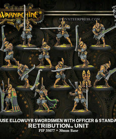 Privateer Press - PIP Warmachine - Retribution of Scyrah - House Ellowuyr Swordsmen with Officer & Standard - Unit