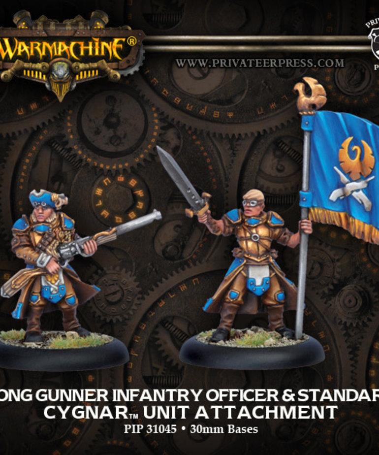 Privateer Press - PIP Warmachine - Cygnar - Long Gunner Infantry Officer & Standard - Unit Attachment