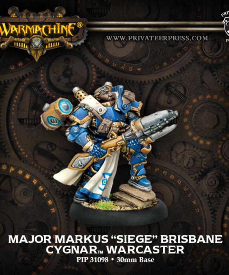 """Privateer Press - PIP Warmachine - Cygnar - Major Markus """"Siege"""" Brisbane - Warcaster (Brisbane 1)"""