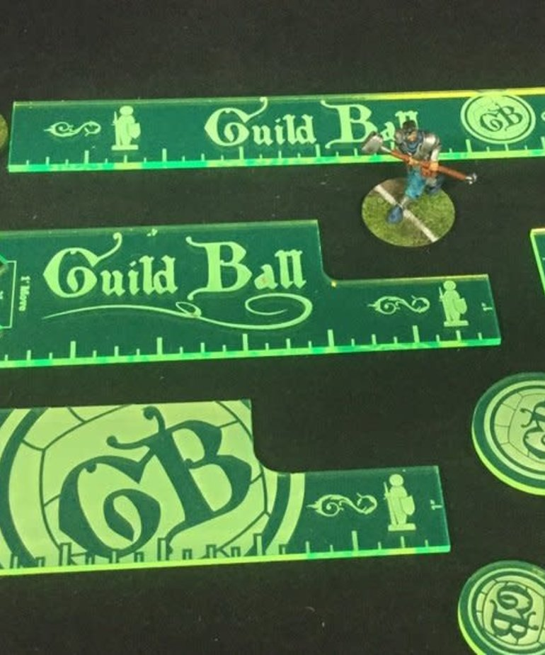 Muse On Minis - MOM Muse on Minis - Green Guild Ball Template and Token Precision Measuring Set