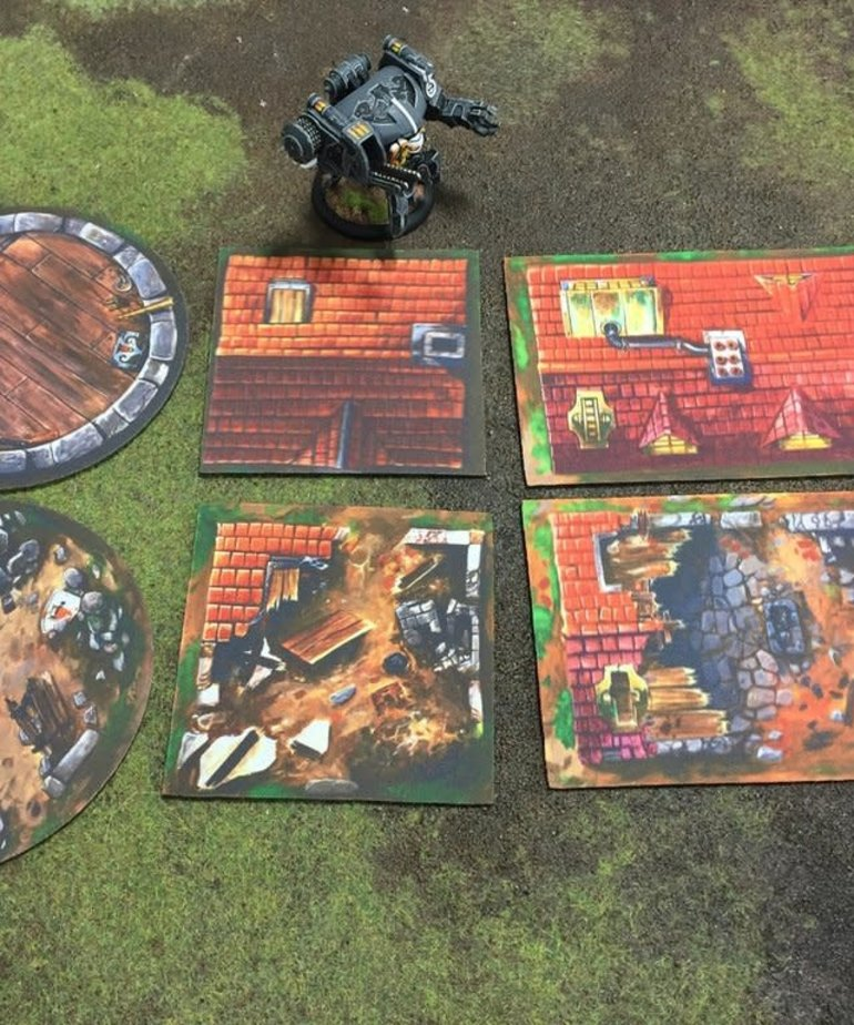 Muse On Minis - MOM Muse on Minis - Terrain: 2D Buildings and Rubble Pack