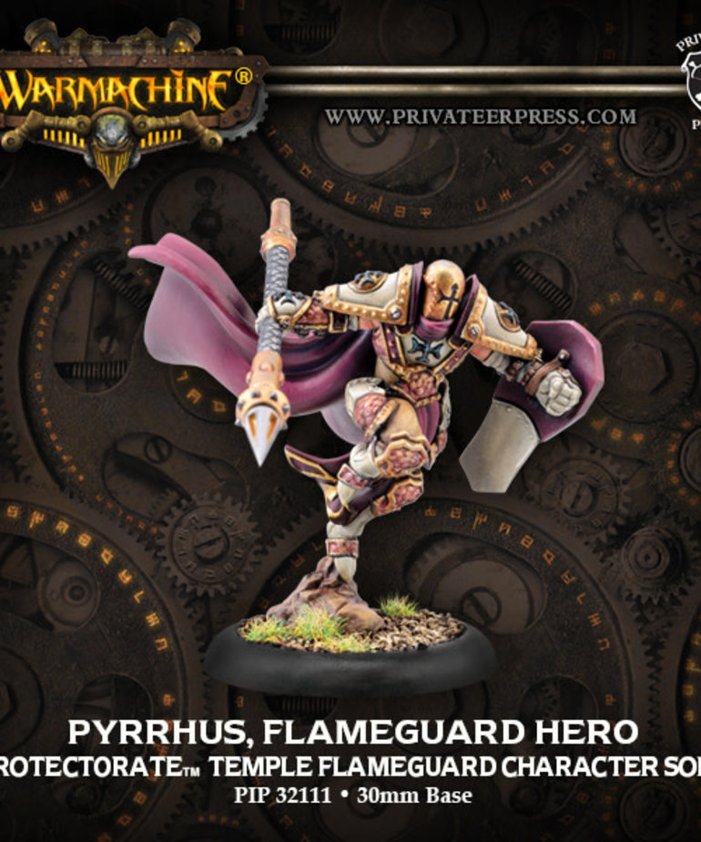Privateer Press - PIP Warmachine - Protectorate of Menoth - Pyrrhus, Flameguard Hero - Temple Flamegaurd Character Solo