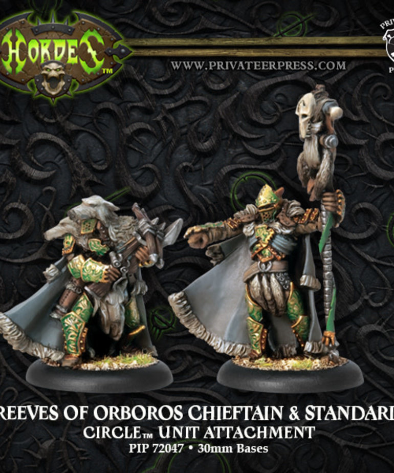 Privateer Press - PIP Hordes - Circle Orboros - Reeves of Orboros Chieftain & Standard - Unit Attachment