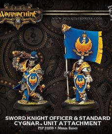 Privateer Press - PIP Warmachine - Cygnar - Sword Knight Officer & Standard - Unit Attachment