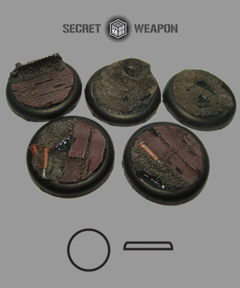 Secret Weapon Miniatures - SWM Trench Works 40mm Bases (5) Secret Weapon Bases BLACK FRIDAY NOW