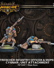 Privateer Press - PIP Warmachine - Cygnar - Trencher Infantry Officer & Sniper - Unit Attachment