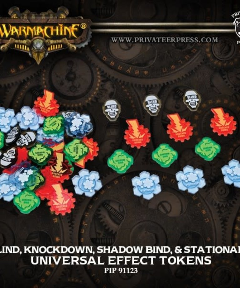 Privateer Press - PIP Warmachine/Hordes - Universal Effect Tokens: Blind, Knockdown, Shadow Bind, & Stationary