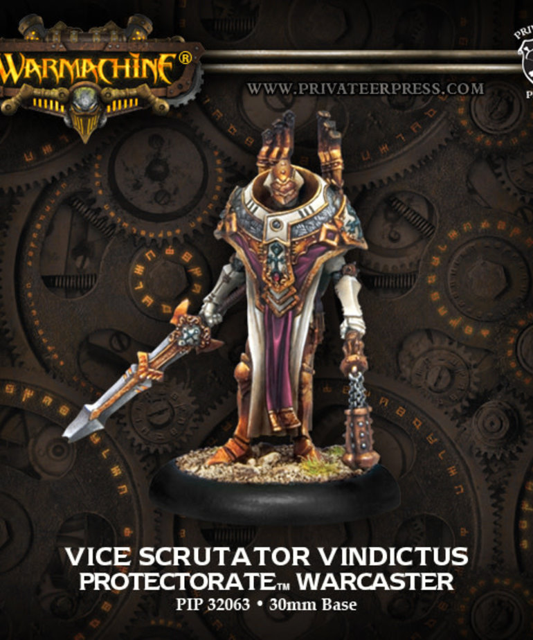 Privateer Press - PIP Warmachine - Protectorate of Menoth - Vice Scrutator Vindictus - Warcaster (Vindictus 1)