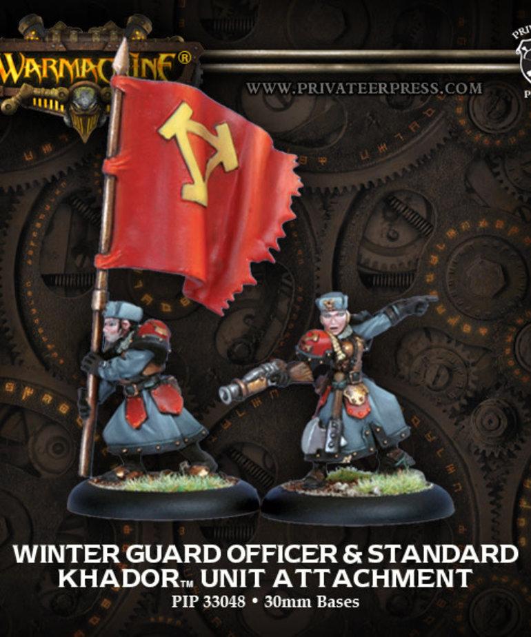 Privateer Press - PIP Warmachine - Khador - Winter Guard Officer & Standard - Unit Attachment
