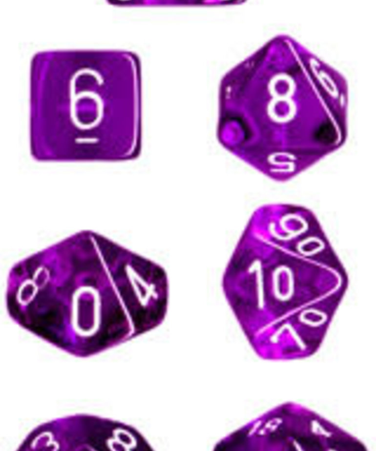 Chessex - CHX Chessex: Translucent - Purple/White - Polyhedral 7-Die Set