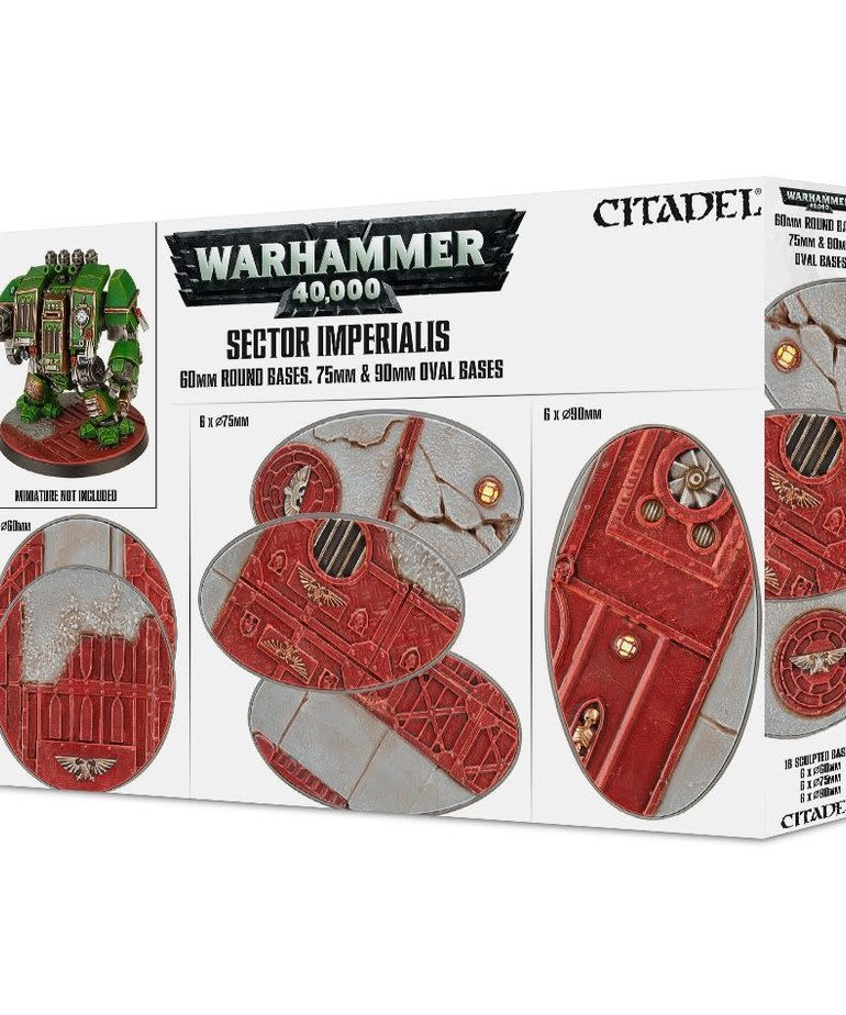 Citadel - GAW Citadel: Warhammer 40K - Sector Imperialis - 60mm Round Bases 75mm & 90mm Oval Bases