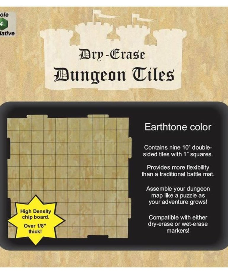 "Role 4 Initiative - R4I Dry-Erase Dungeon Tiles - Earthstone: 10"" Square (9)"