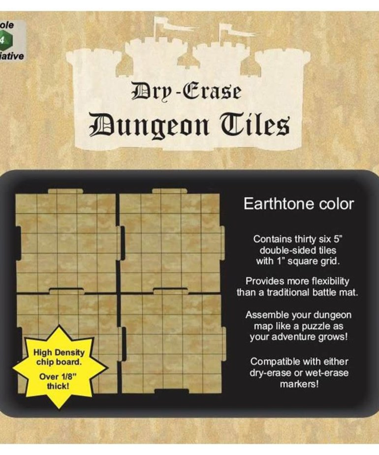 """Role 4 Initiative - R4I Dry-Erase Dungeon Tiles - Earthstone: 5"""" Square (36)"""