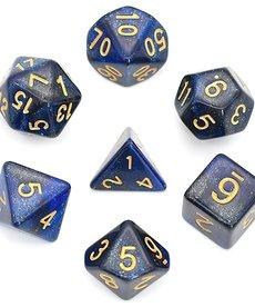 Udixi Dice - UDI Galaxy - Black-Blue/Gold Dice
