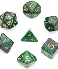 Udixi Dice - UDI Galaxy - Black-Green/Gold Dice