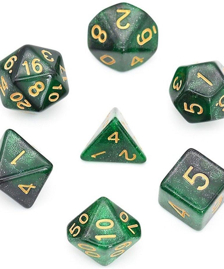 Udixi Dice - UDI Udixi: Dice - Polyhedral 7-Die Set - Galaxy - Black-Green/Gold
