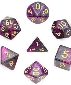 Udixi Dice - UDI Galaxy - Black-Purple/Gold Dice