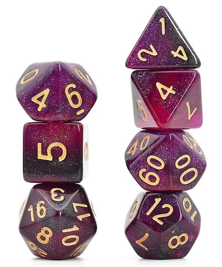 Udixi Dice - UDI Udixi: Dice - Polyhedral 7-Die Set - Galaxy - Black-Purple/Gold