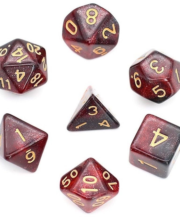 Udixi Dice - UDI Udixi: Dice - Polyhedral 7-Die Set - Galaxy - Black-Red/Gold