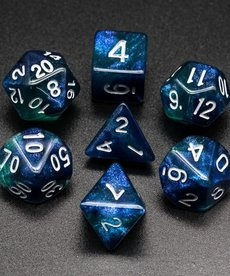 Udixi Dice - UDI Glitter - Blue-Green/White Dice