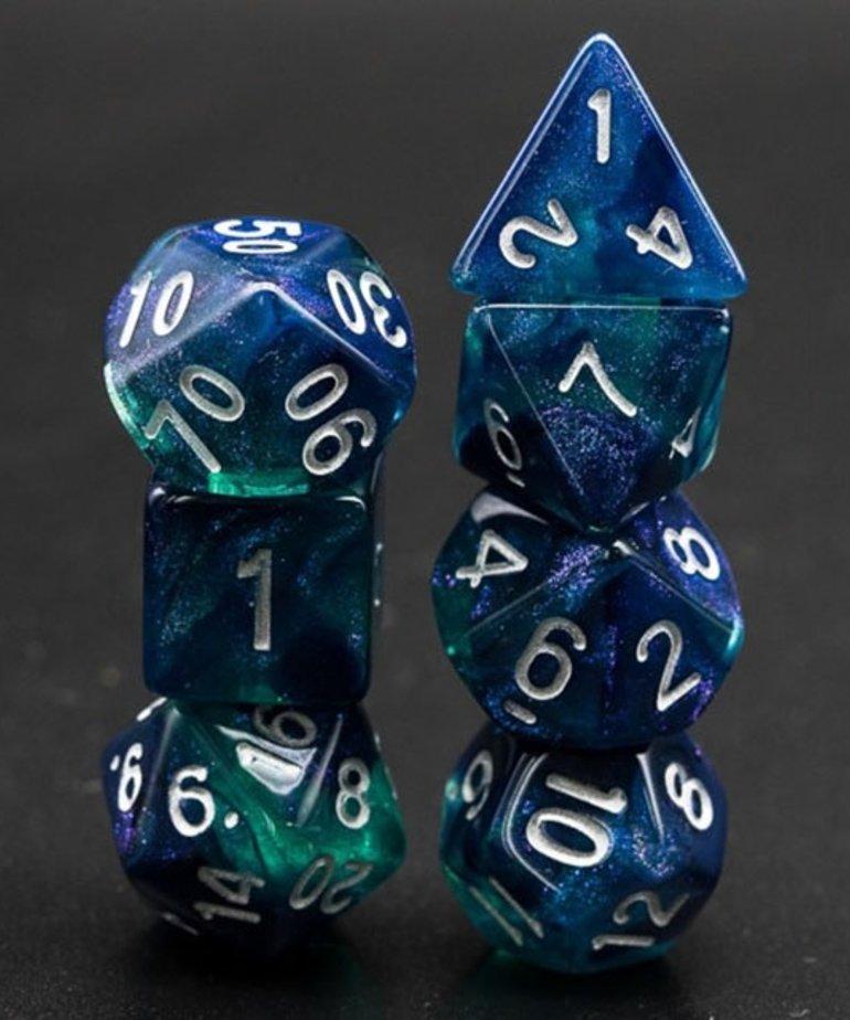 Udixi Dice - UDI Udixi: Dice - Polyhedral 7-Die Set - Glitter - Blue-Green/White