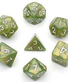 Udixi Dice - UDI Glitter - Green/White Dice