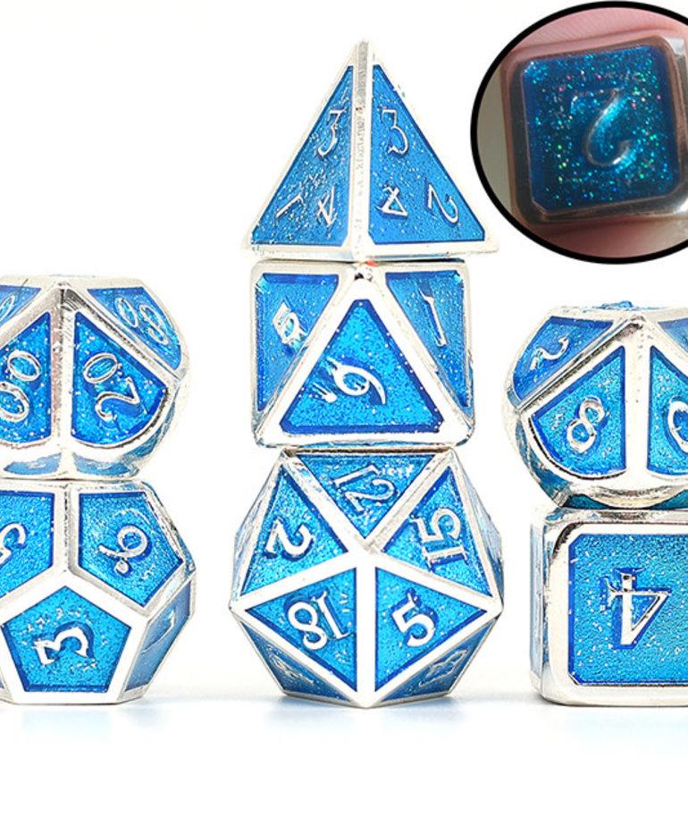 Udixi Dice - UDI Udixi: Dice - Polyhedral 7-Die Set - Glitter/Metal - Silver-Blue