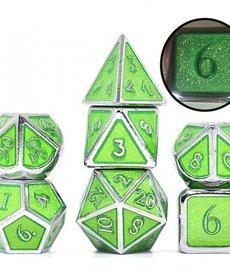Udixi Dice - UDI Glitter/Metal - Silver-Green Dice