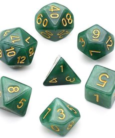 Udixi Dice - UDI Jade - Black-Green/Gold Dice