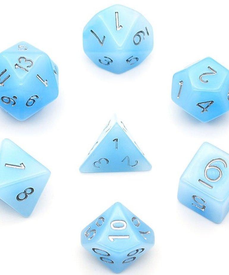 Udixi Dice - UDI Udixi: Dice - Polyhedral 7-Die Set - Jade - Blue/Silver