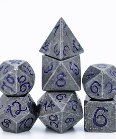 Udixi Dice - UDI Old Dragon Font/Metal - Grey/Purple Dice