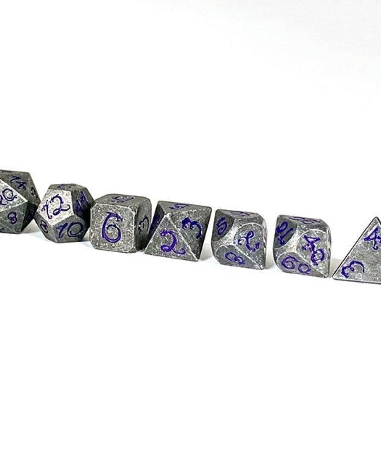 Udixi Dice - UDI Udixi: Dice - Polyhedral 7-Die Set - Old Dragon Font/Metal - Grey/Purple
