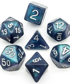Udixi Dice - UDI Resin Galaxy - Blue-Green/White Dice