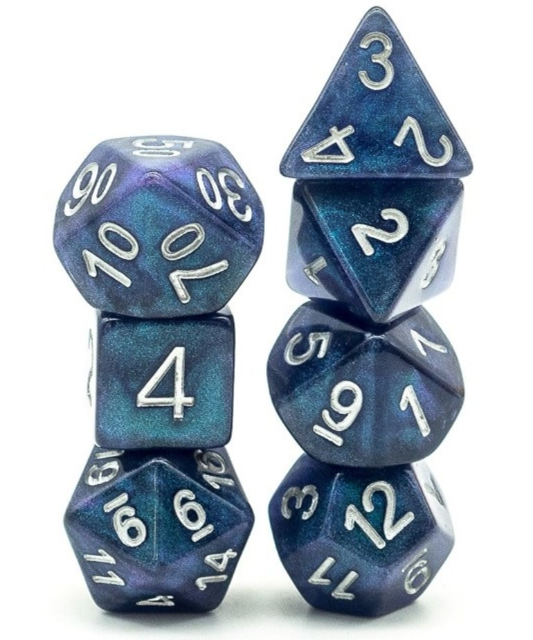 Udixi Dice - UDI Udixi: Dice - Polyhedral 7-Die Set - Resin Galaxy - Blue-Green/White