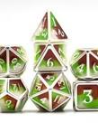 Udixi Dice - UDI Udixi: Dice - Polyhedral 7-Die Set - Three Powder Color/Metal - Silver-Brown-Green/White