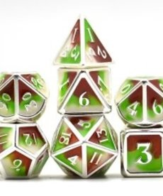 Udixi Dice - UDI Three Powder Color/Metal - Silver-Brown-Green/White Dice