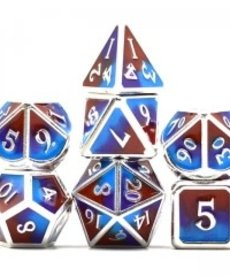 Udixi Dice - UDI Three Powder Color/Metal - Silver-Brown-Purple-Blue Dice